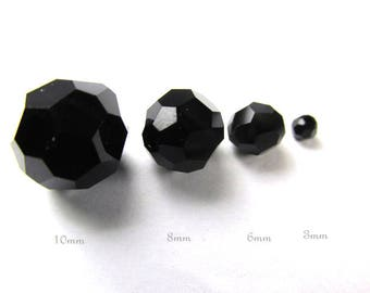 Swarovski Jet Black 5000 Faceted Round Crystals in 3mm, 6mm, 8mm and 10mm sizes