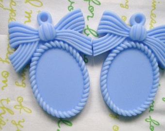 SALE MATTE Bow cameo setting frame 2pcs Light Blue Fits 25mm x 18mm cameo