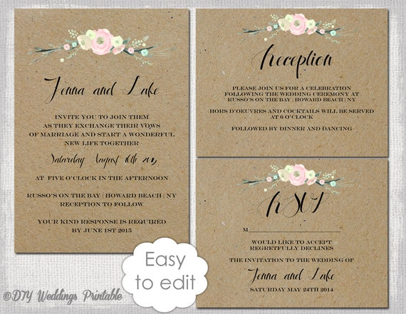Rustic Wedding invitation templates suite DIY Rustic