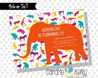 Printable Polkadot Colorful Zoo Jungle Animals Party Birthday Invitation- Digital File
