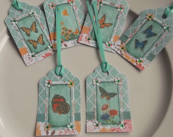 Butterfly gift tags, Flower gift tags, gift labels, Mothers Day gift tags, handmade gift tags, party gift tags, favour tags, gift wrap tags