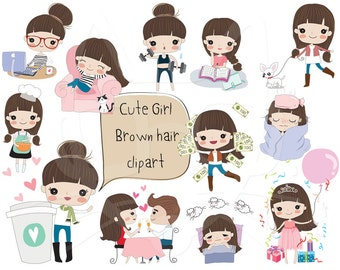 Brown hair girl clipart ,girl stickers set 2 clipart instant download PNG file - 300 dpi