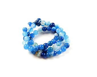 natural agate beads 10 shades of blue 6mm