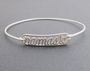 Namaste Jewelry, Sterling Silver Yoga Bracelet, Yoga Jewelry, Namaste Jewelry, Yoga Fashion, Namaste Bangle