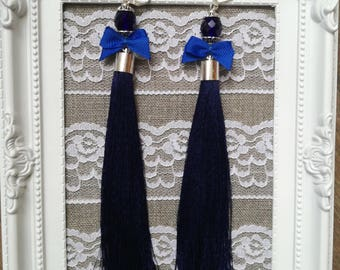 Blue Tassel Earrings long Earrings Bridal Earrings Wedding Dangle Earrings Tassel Bridal Earrings Wedding Jewelry Tassel Earrings
