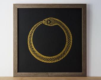 Ouroboros Print, Snake Print, Eternal Life, Gold Print, A3 Print, Poster, Animal Print, Screenprint, Gift Idea, Print