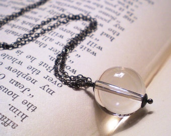 Crystal Necklace Nambian Crystal Oxidized Sterling Silver - Soap Bubble Wire Wrapped