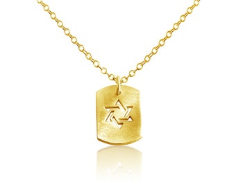 Star of David Jewish Religious Symbol Hexagram Shape Dog Tag Charm Pendant Necklace #14K Gold Plated over 925 Sterling Silver #Azaggi N0704G