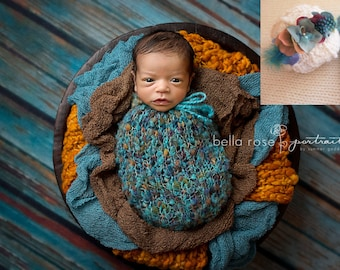 Cinch Sack Baby Boy Cacoon Swaddle Mohair Newborn Girl Knit Spring Photo Prop Cocoon Pod Going Home Turquoise Outfit Pea Pod Coming Home