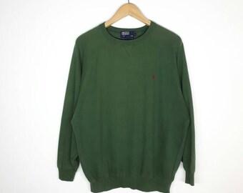 Vintage Polo Ralph Lauren Small Pony Sweatshirt / Good Condition / No stains & Holes / Green Sweatshirt
