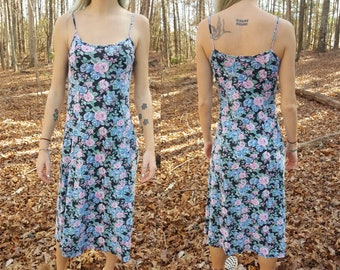 Vintage Floral Maxi Dress - No Boundaries - Spaghetti Strap - Sleeveless - Mid Length - Size Small - Cotton Dress