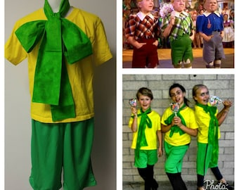 Upcycled Steampunk Clothing, Lollipop Guild Costume, Wizard of Oz, Green Bow Tie, Yellow T-Shirt, Green Shorts Youth/Child Size