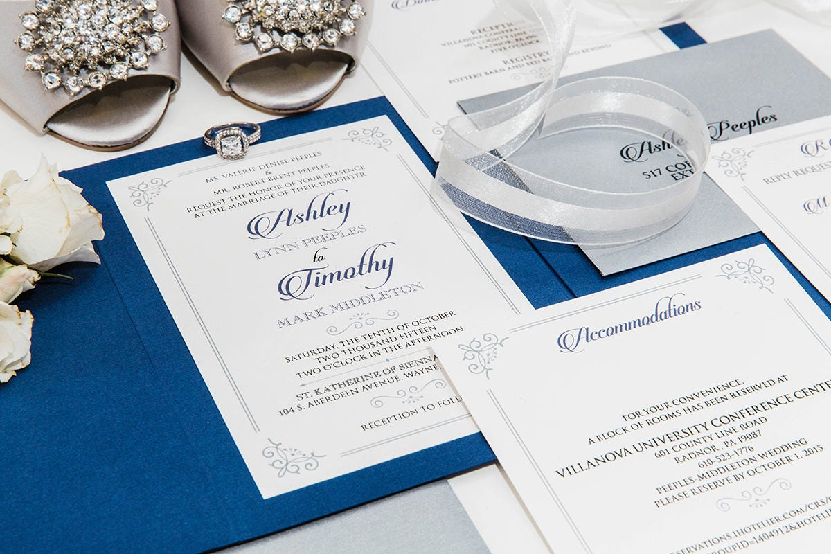 5x7 Navy and Silver Formal Classic Pocket Wedding Invitation with ...