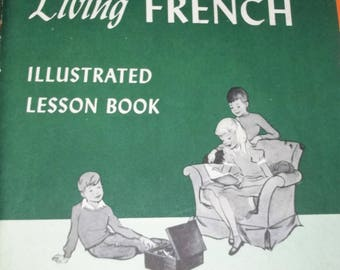 2 Children's Living French Picture Dictionary & Lession Book 1960 Vintage