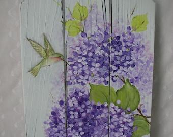 Purple Hydrangeas Plaque Hand Painted Hummingbird Sign Wood Home Wall Decor