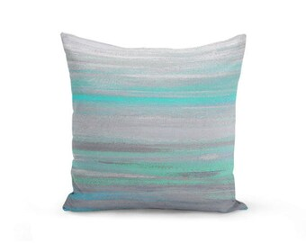 Throw Pillow Cover Grey Mint Aqua Abstract Modern Home Decor Living room bedroom accessories Cushion Cover Decorative Pillow Cover