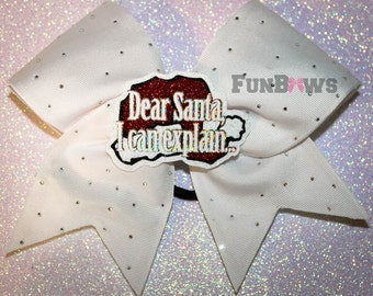 Dear Santa I Can Explain... White LED Light up bow with Rhinestones and a 3-D cutout by FunBows !
