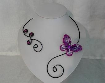 Necklace wedding bride aluminum wire black Butterfly purple evening ceremony parties