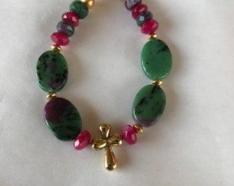 Zoisite bracelet, beaded bracelet, green bracelet, cross bracelet, raspberry color bracelet, gemstone bracelet, faith bracelet