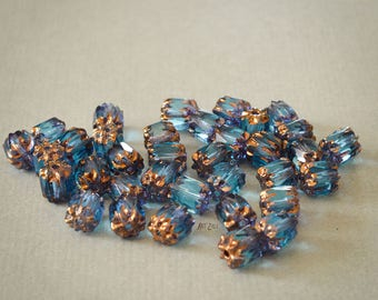 6 mm, blue cathedral czech glass beads with golden ends, fire polished round, 9 pcs