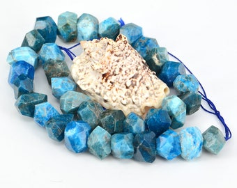 15 Inch Full Strand  Natural Blue Apatite  Drilled  Nugget Faceted Bead , Cut Chunky Nugget