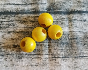 """4 Large Turmeric Dyed Wood Dreadlock Bead  25MM size, or 1 Inch with 3/8"""" hole"""