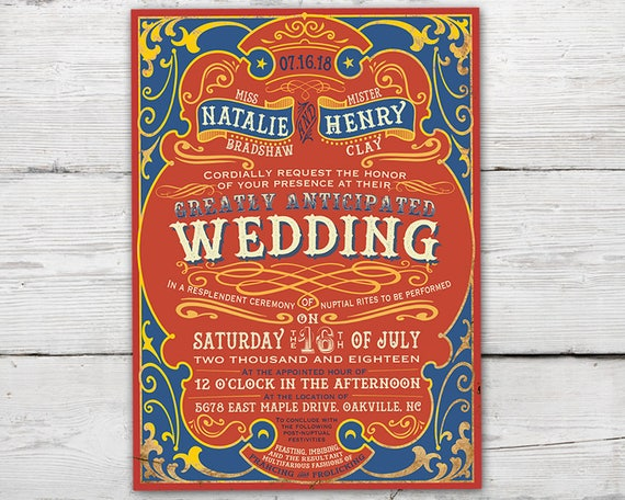 Circus Wedding Invitation Set With And RSVP Card Antique Invitations Carnival