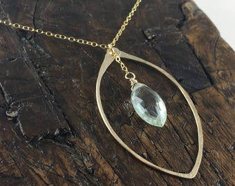 Hammered Gold Filled Leaf Shape Pendant Necklace with Green Amethyst Faceted Gemstone