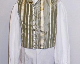 "Readymade Regency Waistcoat, Turned Down Lapel, Sage Green Striped Silk, 42"" Chest"