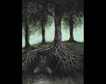 Succubus, Original Painting, Dark, Horror Art, Forest, Woods, Trees, Tangled Roots, Macabre, Spooky, Monster, Woman, Nude