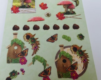 A4 paper with precut to assemble for a 3-d mushroom birdhouses tassel butterfly image