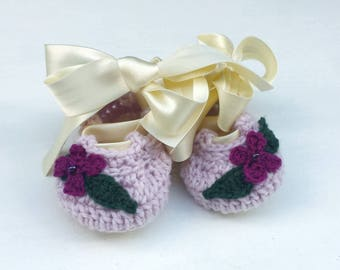 Baby ballet slippers  **Made to Order** ballet shoes, cotton baby shoes, wool pram shoes, baby dance shoes, baby shower gift, new baby gift