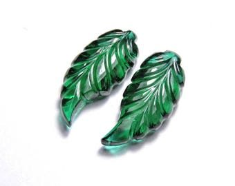 2 Pieces Beautiful Chrome green Quartz Hand Carved Leaves Shaped Loose Gemstone Size 26X10 MM
