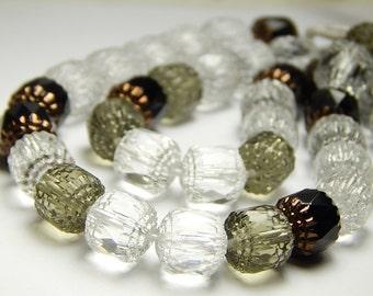 10 Pcs - 10mm Mixed Cathedral Beads - Crystal/Gray/Black - Czech Glass Beads - Barrel Beads - Glass Beads - Jewelry Supplies