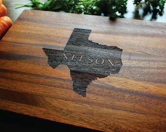 Personalized Cutting Board, Texas (OR ANY STATE) Custom Engraved State,Family Name, Established Date,Wedding, Anniversary, Housewarming Gift