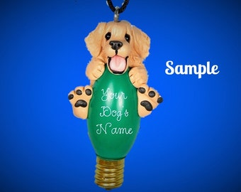 Blonde Golden Retriever Christmas Holidays Light Bulb Ornament Sally's Bits of Clay OOAK PERSONALIZED FREE with dog's name