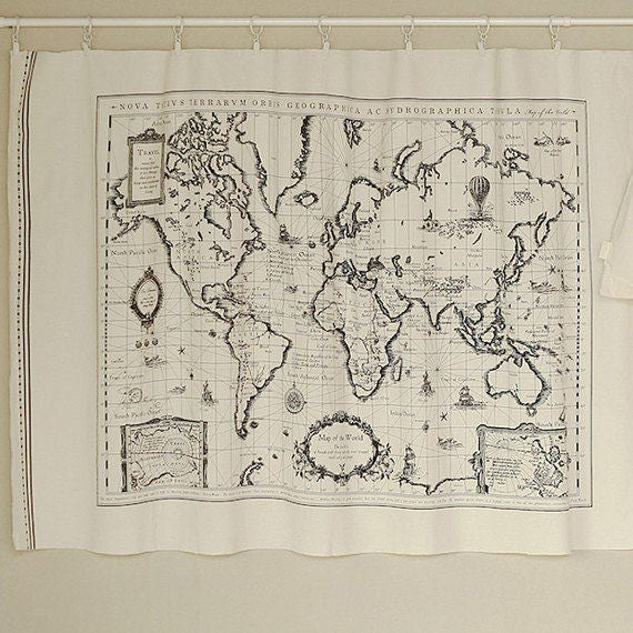 world map retro vintage hanging tapestry linen map panel curtain upholstery craft fabric material print 175cm x 45cm vintage map linen