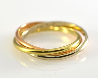 14k Solid Gold Tri Color Rolling Ring Size 10