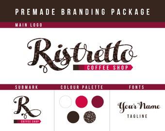 Premade Branding Package | coffee branding kit, premade logo, coffee shop branding, coffee logo, design logo, boutique logo, coffee branding