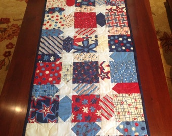 Handmade table runner using red,white and blue fabric from Moda fabric