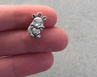 8 Fox Love Heart Antiqued Silver Charm 15mm x 9mm Double-Sided