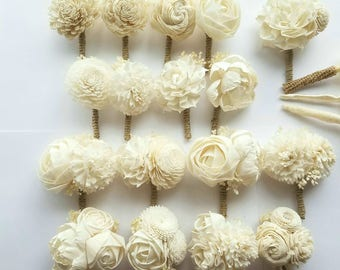 Ready to Ship Ivory/Cream Mens Boutonnieres Wedding Sola Wood Flowers and dried Baby's Breath and Twine Rustic