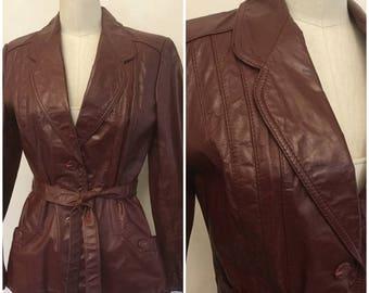 70's Deep Burgundy Leather Jacket. Woman's Racer Jacket.