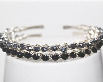 Stackable bracelets- silver bracelets- crystal bracelets- black bracelet- gift for her- stackable cuff bracelets- cuff bracelet- buffalo ny