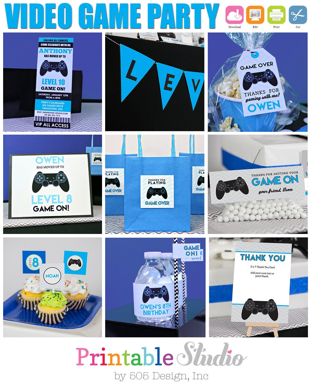 Video Game Birthday Party In Blue INSTANT Download Video
