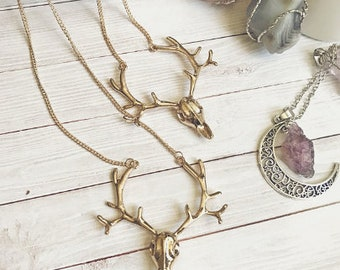 Reindeer deer antlers  gold necklace christmas deer antlers deer skull christmas gift Bohemian boho chic