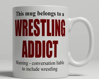 Wrestling mug, wrestler mug, wrestling coffee mug, gift for wrestler coffee mug, wrestler gift idea, wrestling gift idea, EB addict Wrestlin