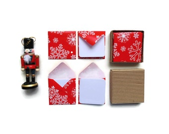 Red Christmas Snowflakes Mini Stationery Set - Blank Note Cards, White Cards, Merry Christmas, Small Square Envelopes, Tags, Gift Under 15