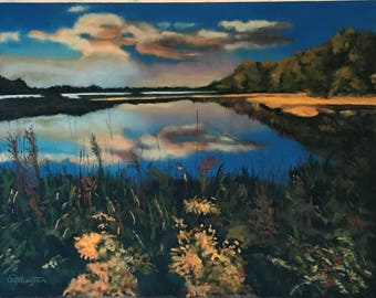 Pastel Painting Sunlit Marsh Painted by Wendy Johnston