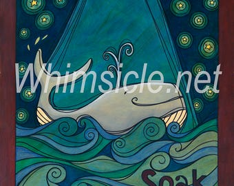 "Whale Art Print inspired by fortune cookies ""Soak it up"" matted"